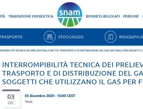 Nuova procedura volontaria interrompibilità gas naturale per clienti finali industriali